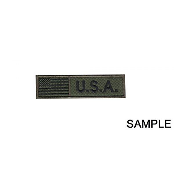 YOZJONGNGG Airsoft Morale Patch 2 Custom Name Text American Flag T Morale Patch Hook Backing (Green Army Color)