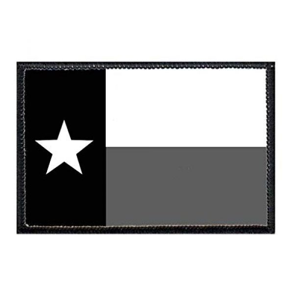 P PULLPATCH Airsoft Morale Patch 1 Texas State Flag - B&W Morale Patch | Hook and Loop Attach for Hats, Jeans, Vest, Coat | 2x3 in | by Pull Patch