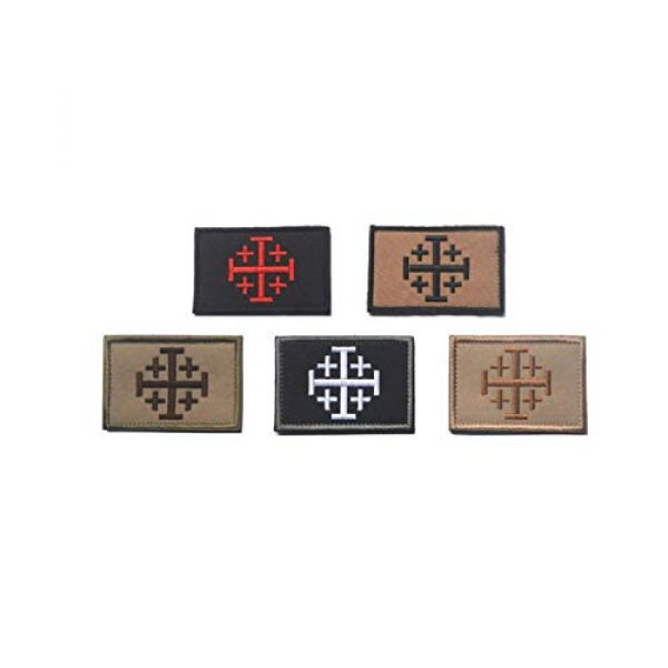 DPAINTouscap Airsoft Morale Patch 2 Jerusalem Cross Crusader Tactical Patches Embroidered Military Patch Morale Patches