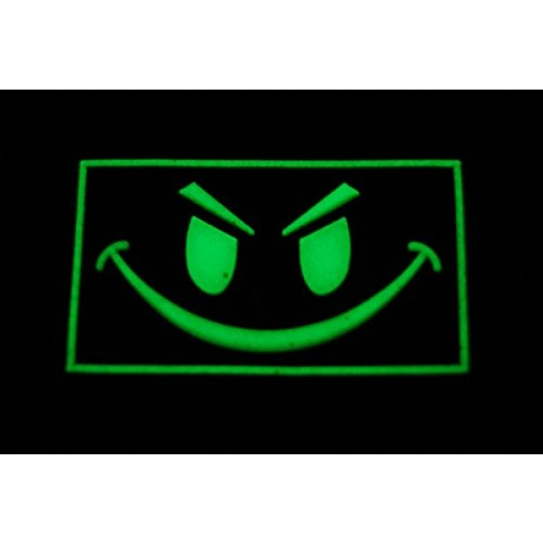 """Empire Tactical USA Airsoft Morale Patch 2 The 2x1"""" Angry Small Face - Glow in The Dark - PVC Morale Patch (Hook/Loop Back)"""