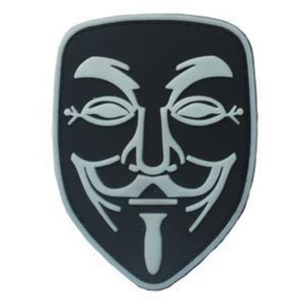 Tactical PVC Patch Airsoft Morale Patch 1 Noctilucous Anonymous V for Vendetta Morale Military Patch 3D PVC Rubber Tactical Rubber Hook Patch (color1)
