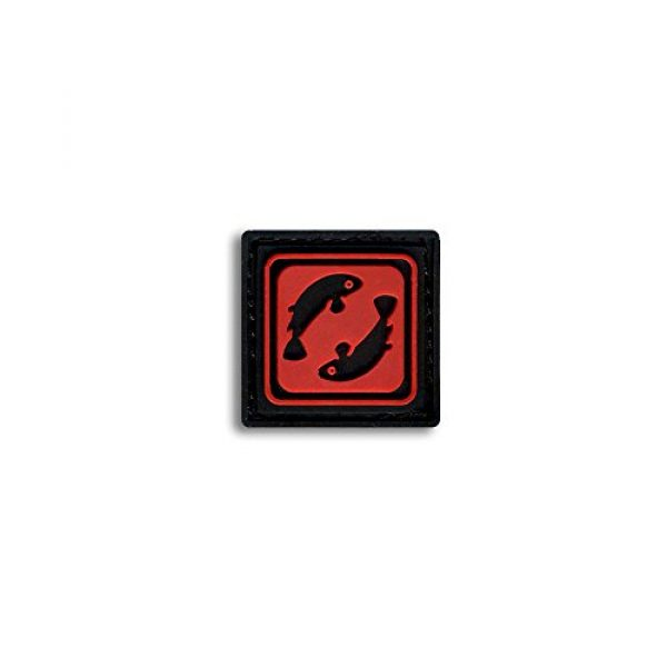 BASTION Airsoft Morale Patch 1 Bastion Tactical Combat Badge PVC Morale Patch Hook and Loop Patch - Pisces Red