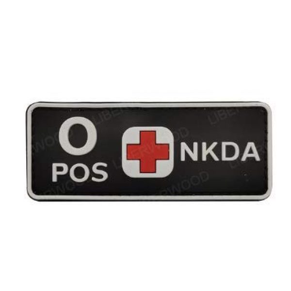 Tactical PVC Patch Airsoft Morale Patch 1 1pcs Blood Type NKDA Red Cross PVC Military Tactical Morale Patch Badges Emblem Applique Hook Patches for Clothes Backpack Accessories