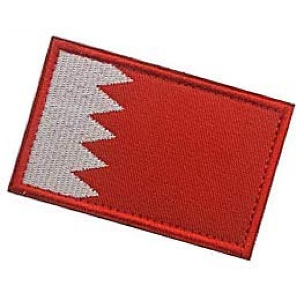 Embroidery Patch Airsoft Morale Patch 3 Bahrain Flag Patch Military Hook Loop Tactics Morale Embroidered Patch