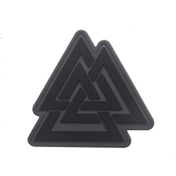 Zhikang68 Airsoft Morale Patch 1 Valknut Triangle Symbol Viking Norse Rune Morale Tactical Military Army Embroidered Sew on Tags Operator Patches with Hook and Loop Fasteners Backing (PVC)