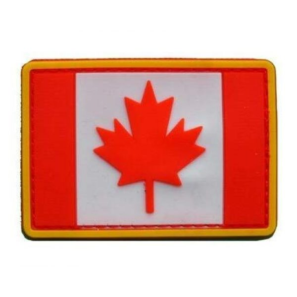 Tactical PVC Patch Airsoft Morale Patch 2 Canada Flag PVC Military Tactical Morale Patch Badges Emblem Applique Hook Patches for Clothes Backpack Accessories