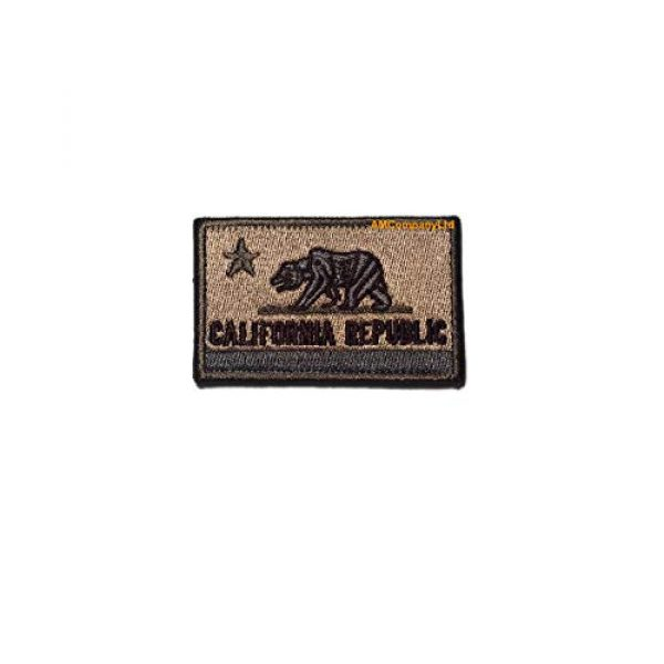 """AMCompanyLtd Airsoft Morale Patch 1 California Republic State Flag 2 Types Tactical Morale Patch CA Emblem USA Hook and Loop Fastener for Backpacks Caps Hats (Size: 3.14""""x1.96"""") (CoyoteTan/Khaki)"""