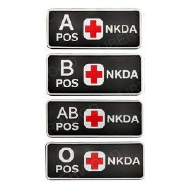 Tactical PVC Patch Airsoft Morale Patch 1 1pcs Glowing in Dark Blood Type NKDA Red Cross PVC Military Tactical Morale Patch Badges Emblem Applique Hook Patches for Clothes Backpack Accessories