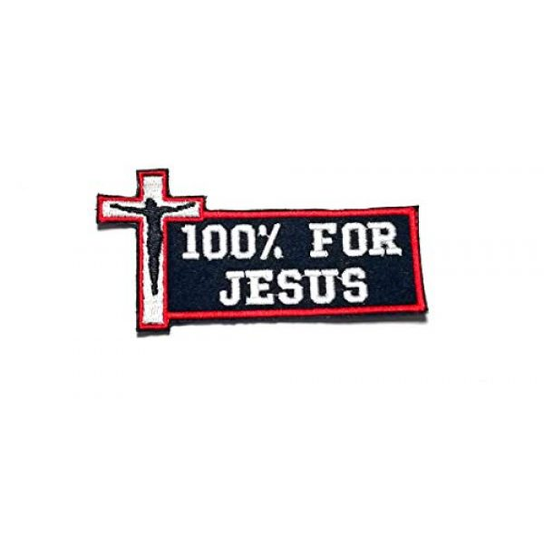 HOMMALAI Airsoft Morale Patch 1 B66 Biker Motorcycle 100% for Jesus Cross Christian Vest Jacket Funny Quotes Saying Embroidered Morale Patch Hook Backing (B)