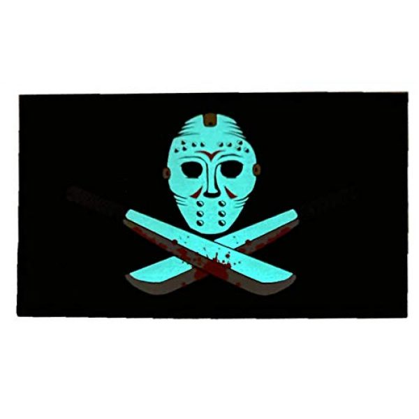F-Bomb F Morale Gear Airsoft Morale Patch 2 Glow in The Dark - Friday The 13th - PVC Morale Patch (Black)