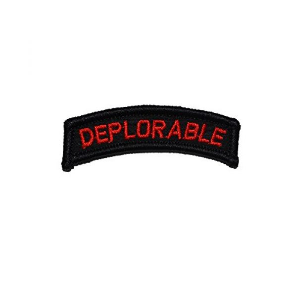 """Tactical Gear Junkie Airsoft Morale Patch 1 Deplorable Tab, Deplorable Tab 0.75"""" x 2.75"""" Patch - Black with Red"""
