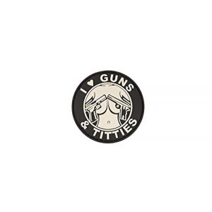 """Lancer Tactical Airsoft Morale Patch 1 AC-130G""""I LOVE GUNS & TITTIES"""" PVC PATCH (BW)"""