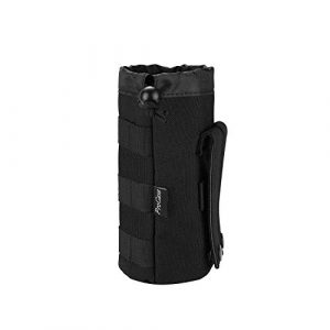 ProCase Tactical Pouch 1 ProCase Tactical Molle Water Bottle Pouch, Military Bottle Holder with Top Drawstring & Mesh Bottom, Portable Water Container Pouch Bag Hydration Carrier for Camping Hiking Hunting Traveling -Black