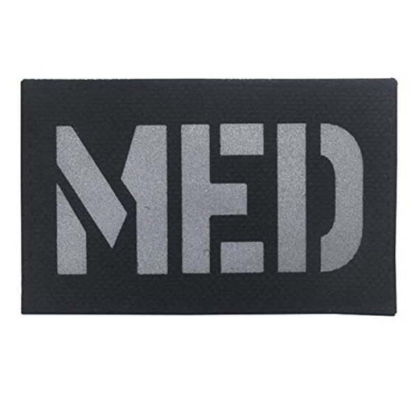 Kssen Airsoft Morale Patch 1 Medic Med Tactical Morale Fastener Patch IR Reflective Badge Emblem for First Aid EMS EMT MED with Embroidered Hook&Loop Medical Cosplay Patches (Black)