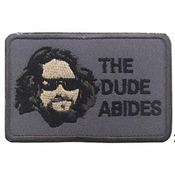 Embroidery Patch Airsoft Morale Patch 1 The Dude Abides,The Big Lebowski Patch Hook Loop Tactics Morale Embroidered Patch