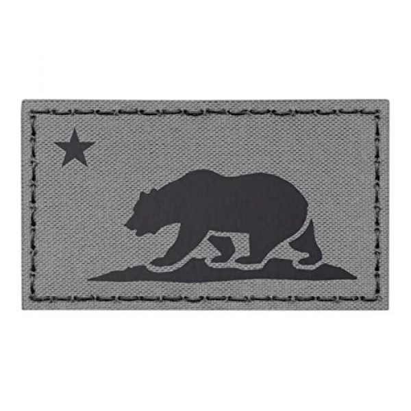 Tactical Freaky Airsoft Morale Patch 1 IR California Republic State Flag 2x3.5 Wolf Gray Grey IFF Tactical Morale Fastener Patch