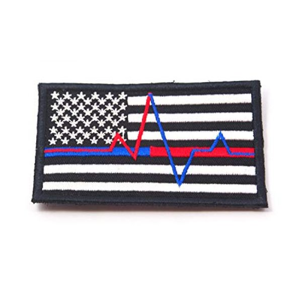 JJ4 Airsoft Morale Patch 2 B55 USA American Flag Red and Blue Line Paramedic Firefighter Embroidered Morale Patch 9X5.5 cm Hook Backing (1)