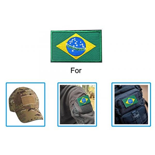 TopAAA Airsoft Morale Patch 3 TopAAA Brazil Flag Military Embroidered Tactical Velcro Patch Morale Shoulder Applique