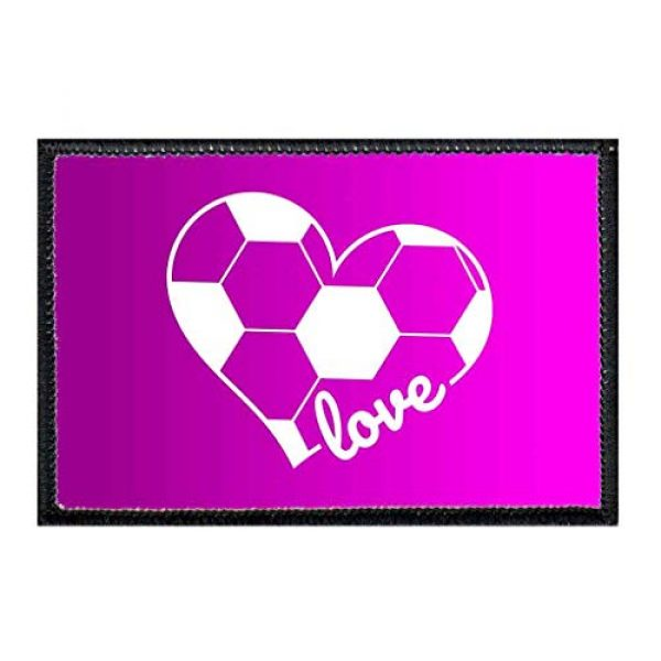 P PULLPATCH Airsoft Morale Patch 1 Soccer Heart Purple Hombre Morale Patch   Hook and Loop Attach for Hats, Jeans, Vest, Coat   2x3 in   by Pull Patch