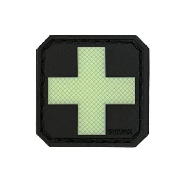 F-Bomb F Morale Gear Airsoft Morale Patch 1 Medic -PVC Identification Morale Patch with Hook and Loop Backing (Medic Cross - Glow in The Dark)