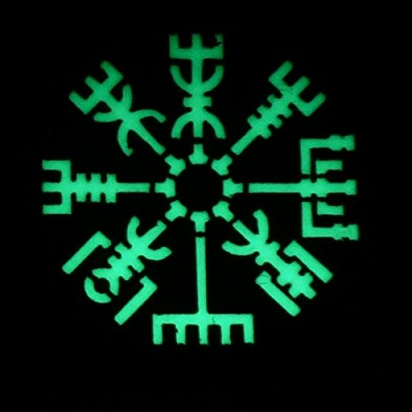 Tactical Freaky Airsoft Morale Patch 2 Glow Dark Vegvisir Viking Norse 2x2 GITD Tactical Morale Fastener Patch
