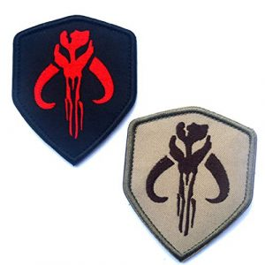 ODSP Airsoft Morale Patch 1 Star Wars Mandalorian Mythosaur Skull Crest Bounty Hunter Boba Fett Shield Patch, Tactical Morale Patches with Fastener Hook and Loop Backing 3.5 x 2.48 inch