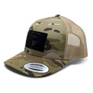P PULLPATCH Tactical Hat 1 Pull Patch Tactical Hat | Authentic Snapback Multicam Curved Bill Trucker Cap | 2x3 in Hook and Loop Surface to Attach Morale Patches | 6 Panel | Camo and Khaki | Free US Flag Patch Included