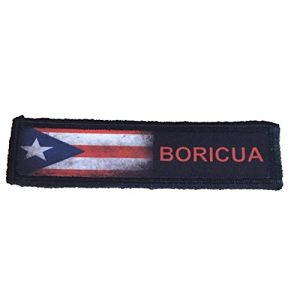 """RedheadedTshirts Airsoft Morale Patch 1 1x4 Puerto Rico Boricua Tactical Military Morale Patch. 1x4"""" Hook and Loop Made in The USA Perfect for Your Rucksack, Pack Bag, Molle Gear, Operator hat or Cap!"""