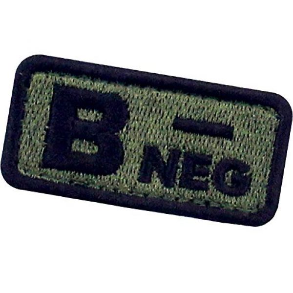 """EmbTao Airsoft Morale Patch 4 EmbTao Type B Negative Tactical Blood Type Patch Embroidered Morale Applique Fastener Hook & Loop Emblem - Green & Black -2""""x1"""""""