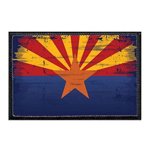 P PULLPATCH Airsoft Morale Patch 1 Arizona State Flag - Color - Distressed Morale Patch | Hook and Loop Attach for Hats, Jeans, Vest, Coat | 2x3 in | by Pull Patch