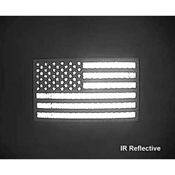 """jujupups Airsoft Morale Patch 3 2x3.5"""" Infrared IR US USA American Flag Patch Tactical Vest Patch Hook-Fastener Backing(1 Left + 1 Right (Black)"""