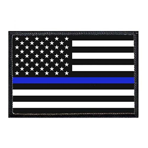 P PULLPATCH Airsoft Morale Patch 1 Thin Blue Line Patch   Hook and Loop Attach for Hats, Jeans, Vest, Coat   2x3 in   by Pull Patch