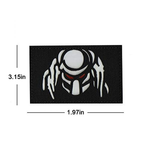 Zhikang68 Airsoft Morale Patch 2 Dark Predator Alien Morale Infrared IR Reflective Patch Tactical Vest Emblem Hook Loop Fastener Backing Military Uniform Army Multicam Badge Sew On Applique for Outdoors (White Eyes)