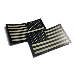 """Empire Tactical USA Airsoft Morale Patch 1 2 PACK Set - Authentic mil-spec 2"""" x 3.5"""" Black and Tan (FORWARD and REVERSED) Us Ir Infrared USA Flag Military Morale Reflective Patch"""
