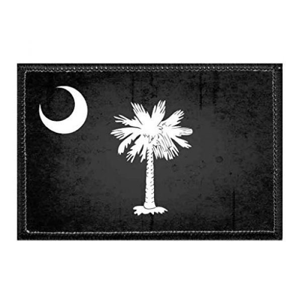 P PULLPATCH Airsoft Morale Patch 1 South Carolina State Flag - Black and White - Distressed Morale Patch   Hook and Loop Attach for Hats, Jeans, Vest, Coat   2x3 in   by Pull Patch