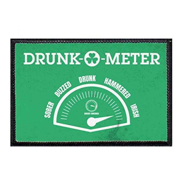 P PULLPATCH Airsoft Morale Patch 1 Drunk-O-Meter - Green Distressed Morale Patch | Hook and Loop Attach for Hats, Jeans, Vest, Coat | 2x3 in | by Pull Patch