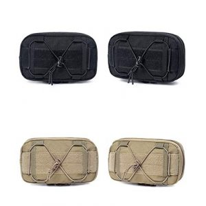 LIVIQILY Tactical Pouch 1 LIVIQILY EDC Horizontal MOLLE Pouch for Tool Treat Med Utility Gadget Belt Waist Bag with Cell Phone Holster Holder, Shoulder Strap and Mini Carabiner