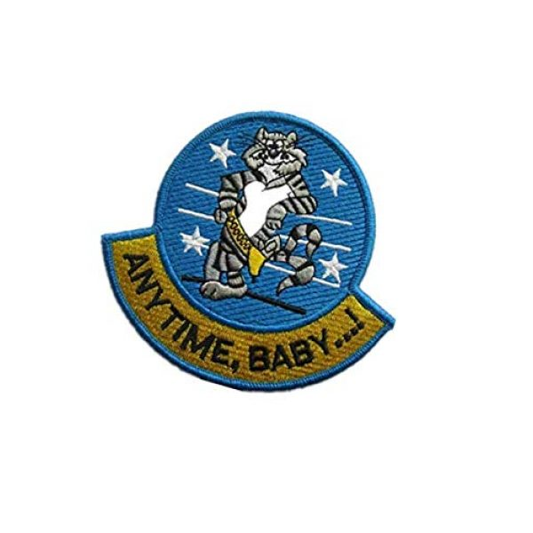 Embroidery Patch Airsoft Morale Patch 3 Anytime, Baby.! F-14 Tomcat Fighter Military Hook Loop Tactics Morale Embroidered Patch