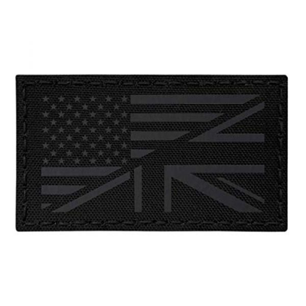 Tactical Freaky Airsoft Morale Patch 1 IR Blackout USA UK Union Jack Friendship Flag 2x3.5 Infrared Tan IFF Tactical Morale Touch Fastener Patch