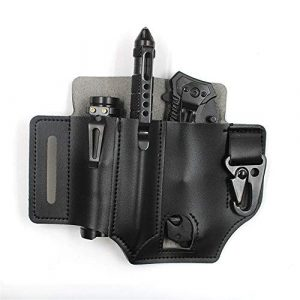 LIEYING Tactical Pouch 1 LIEYING 1PC Outdoor EDC Tool Storage Holster Cover Knife Tactical Pen Flashlight Universal Belt PU Leather Storage Cover Case