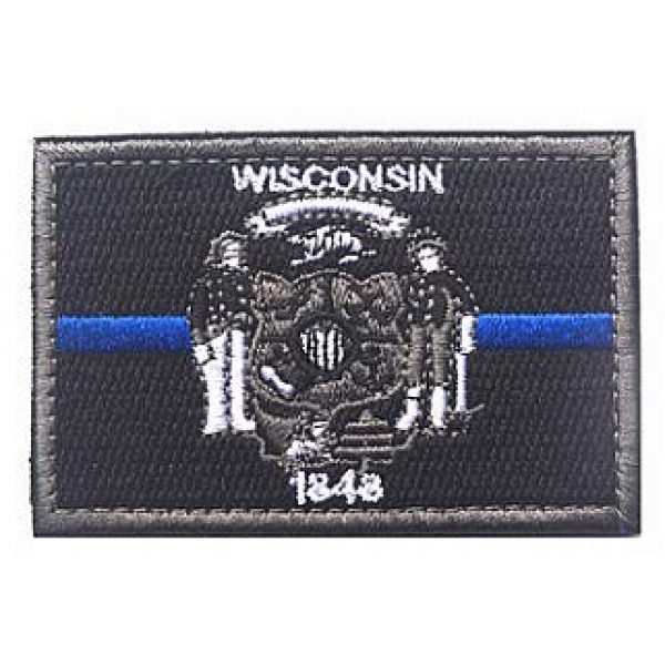 Embroidery Patch Airsoft Morale Patch 1 US Wisconsin State Flag Patch Military Hook Loop Tactics Morale Embroidered Patch (color3)