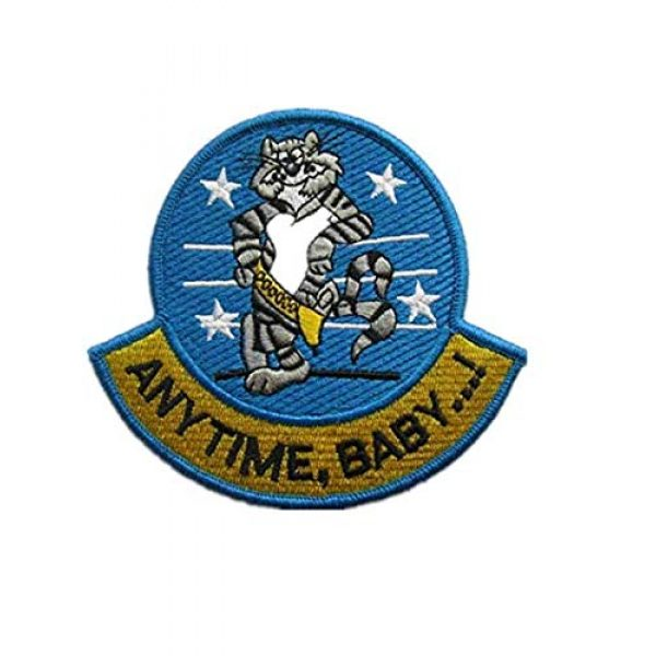 Embroidery Patch Airsoft Morale Patch 1 Anytime, Baby.! F-14 Tomcat Fighter Military Hook Loop Tactics Morale Embroidered Patch