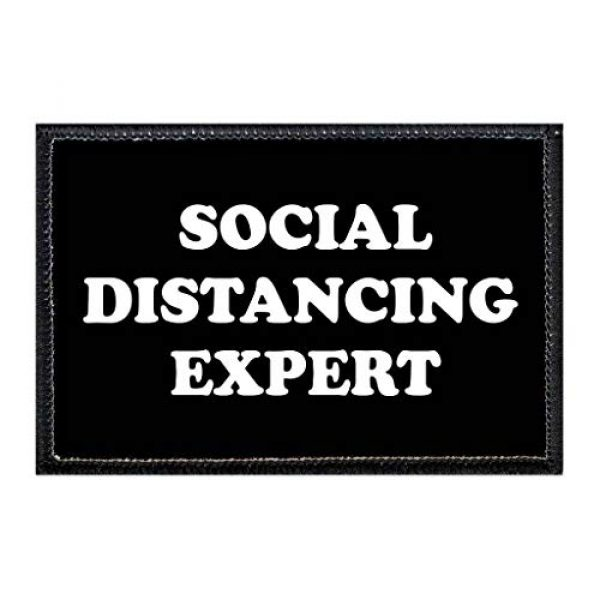 P PULLPATCH Airsoft Morale Patch 1 Social Distancing Expert | Hook and Loop Attach for Hats, Jeans, Vest, Coat | 2x3 in | by Pull Patch