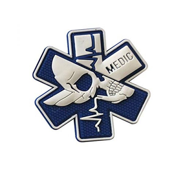 Zhikang68 Airsoft Morale Patch 3 Medic Patch 3D PVC Rubber Paramedic Medical EMS EMT MED First Aid Morale Tactical Morale Skull Military Hook Fasteners Badge (White Blue)