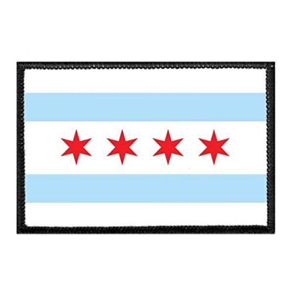 P PULLPATCH Airsoft Morale Patch 1 Chicago City Flag - Color Morale Patch | Hook and Loop Attach for Hats, Jeans, Vest, Coat | 2x3 in | by Pull Patch