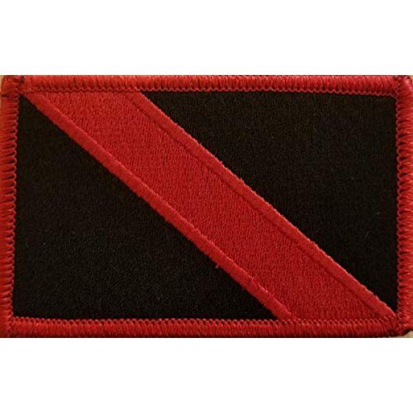 Fast Service Designs Airsoft Morale Patch 2 Scuba Flag Embroidered Patch Fastener Backing Hook & Loop Morale Tactical Shoulder Emblem Black & Red Colors Red Border #1
