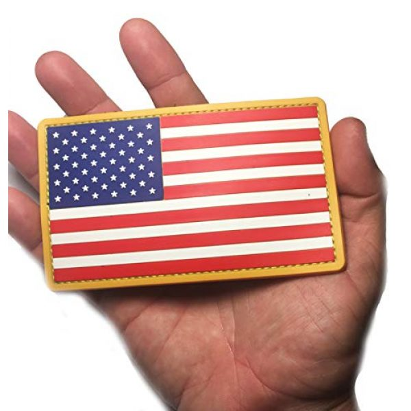 Empire Tactical USA Airsoft Morale Patch 2 PVC Large 3x5 Inch Color Tactical Us USA Flag (Hook/Loop) Patch
