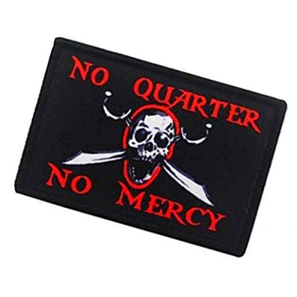 Fine Print Patch Airsoft Morale Patch 3 No Quarter No Mercy Pirate Skull Military Hook Loop Tactics Morale Printed Patch