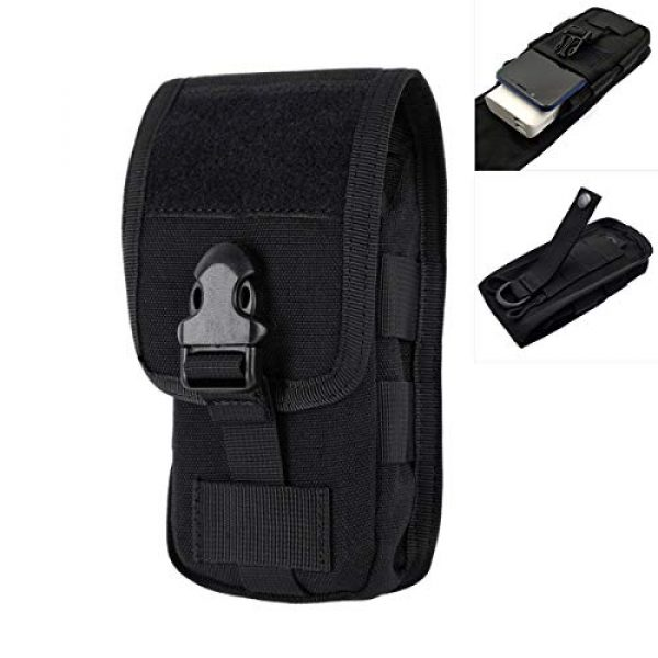 Riyiter Tactical Pouch 1 Riyiter Universal Multifunction Cell Phone Holster Pouch Tactical Smartphone Pouches EDC Case Molle Gadget Bag Case with Belt Loop Hook Cover Case Double-Layer Nylon Coin Purse Black