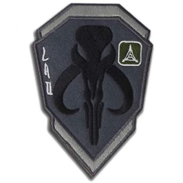 Great Supplier Airsoft Morale Patch 1 Mandalorian Mythosaur Skull Crest Shield Embroidered Patch Emblem Tactical Military Morale Funny Badages Appliques Patches with Fastener Hook and Loop Backing, 3.94 x 2.76 Inch